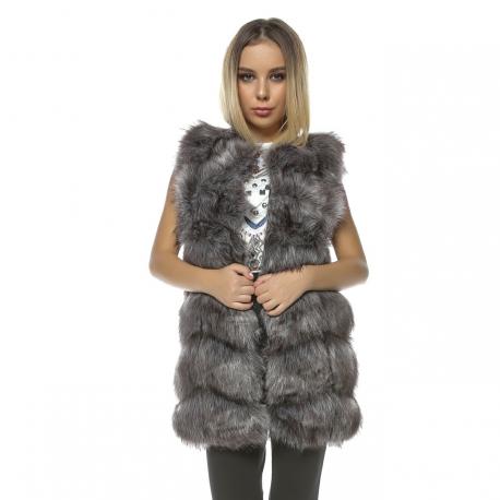 Vesta lunga de blana Frozen gri Plus size