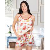 Pijama dama din satin Melon