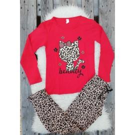 Pijama cu maneca lunga Kitty leopard rosu