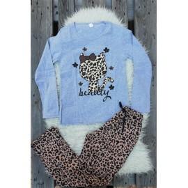 Pijama cu maneca lunga Kitty leopard gri