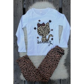 Pijama cu maneca lunga Kitty leopard alb