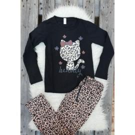 Pijama cu maneca lunga Kitty leopard negru