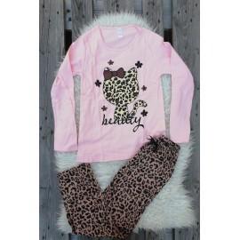 Pijama cu maneca lunga Kitty leopard roz