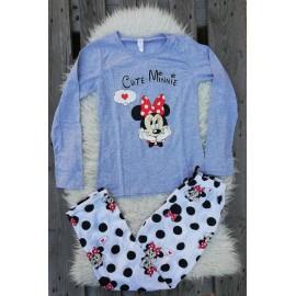 Pijama cu maneca lunga Cute Minnie Gri