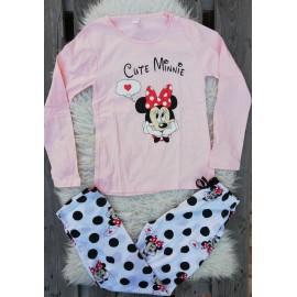 Pijama cu maneca lunga Cute Minnie Roz
