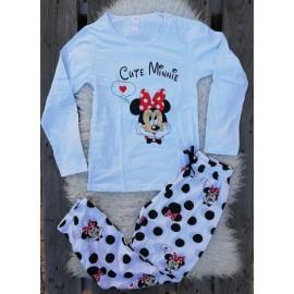 Pijama cu maneca lunga Cute Minnie Alb