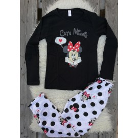 Pijama cu maneca lunga Cute Minnie negru