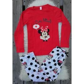 Pijama cu maneca lunga Cute Minnie rosu