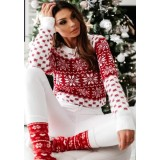 Pulover tricotat Snowflakes Alb