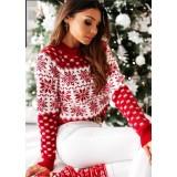 Pulover tricotat Snowflakes Rosu