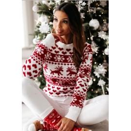 Pulover tricotat cu motive Heart Alb