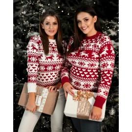 Pulover tricotat cu motive Heart Rosu