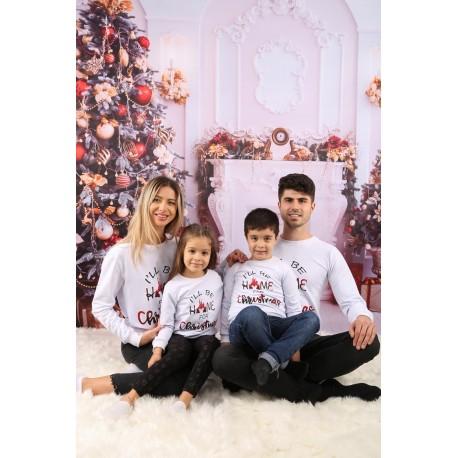 Set Bluze Family Home Christmas alb Idei Cadouri de Craciun Online