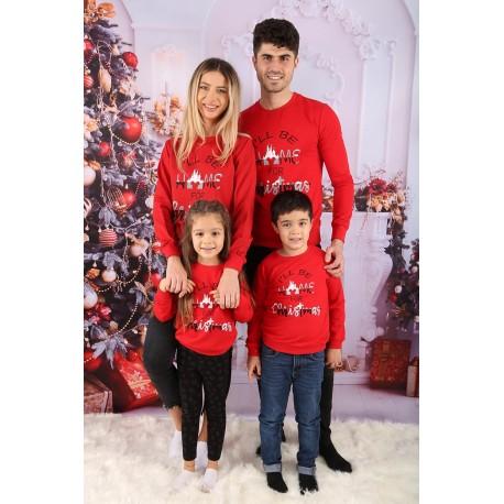 Set Bluze Family Home Christmas rosu Idei Cadouri de Craciun Online