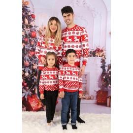 Set Bluze Family Zendy rosu cu alb
