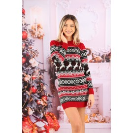 Rochie cu motive Funny Christmas Rosu cu Negru
