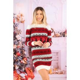 Rochie cu motive Funny Christmas Rosu cu Alb