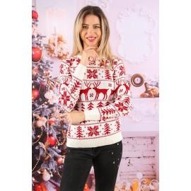 Pulover tricotat Happy Christmas Rosu