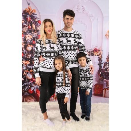 Set Bluze Family Zendy alb cu negru Idei Cadouri de Craciun Online