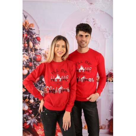 Set Bluze Cuplu Home Christmas Rosu
