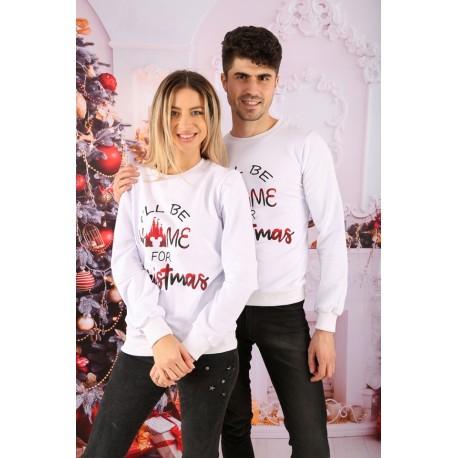 Bluza Barbat Home Christmas Alb Idei Cadouri de Craciun Online