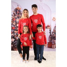 Set Bluze Family Cornite Christmas Rosu