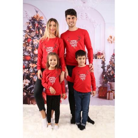 Set Bluze Family Cornite Christmas Rosu Idei Cadouri de Craciun Online
