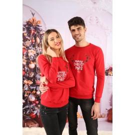 Set Bluze Cuplu Cornite Christmas Rosu