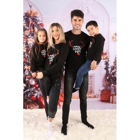 Set Bluze Family Cornite Christmas Negru Idei Cadouri de Craciun Online
