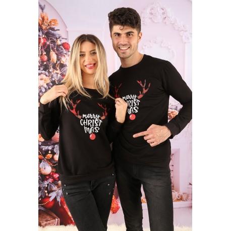 Set Bluze Cuplu Cornite Christmas Negru Idei Cadouri de Craciun Online
