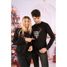 Set Bluze Cuplu Cornite Christmas Negru