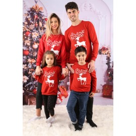 Set Bluze Family Crush Christmas Rosu