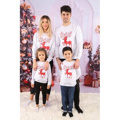 Set Bluze Family Crush Christmas Alb Idei Cadouri de Craciun Online