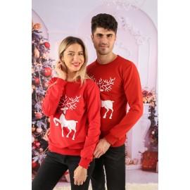 Set Bluze Cuplu Crush Christmas Rosu