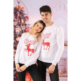 Set Bluze Cuplu Crush Christmas Alb