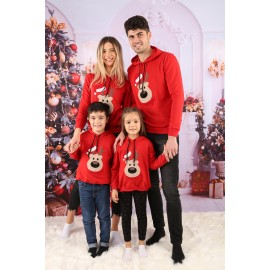 Set Bluze Family Bear Christmas Rosu