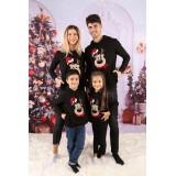 Set Bluze Family Bear Christmas Negru