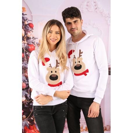 Set Bluze Cuplu Bear Christmas Alb Idei Cadouri de Craciun Online