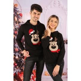 Set Bluze Cuplu Bear Christmas Negru