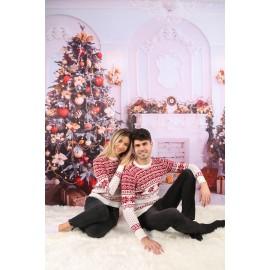 Set Bluze Cuplu Tricot  Snow Christmas Alb