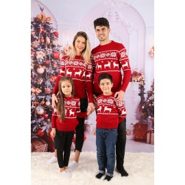 Set Bluze Family Tricot Snow Christmas Rosu