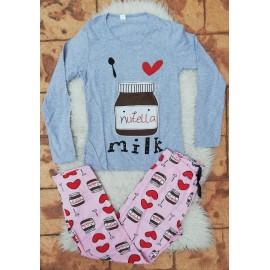 Pijama cu maneca lunga Nutella gri