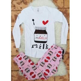 Pijama cu maneca lunga Nutella Alb