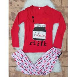 Pijama cu maneca lunga Nutella Rosu