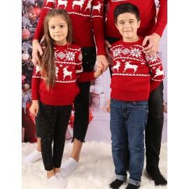 Bluza Copil Tricot Snow Christmas Rosu