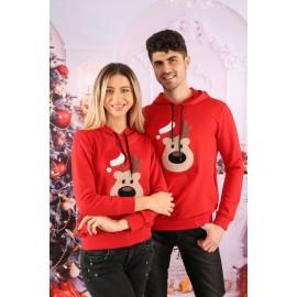 Set Bluze Cuplu Bear Christmas Rosu