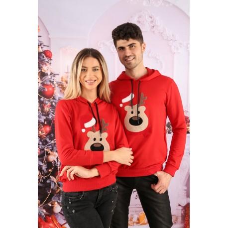 Set Bluze Cuplu Bear Christmas Rosu Idei Cadouri de Craciun Online