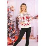 Pulover tricotat Crush Christmas Alb