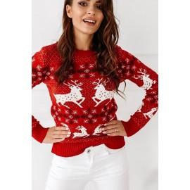 Pulover tricotat Crush Christmas Rosu