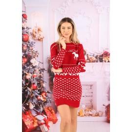 Rochie cu motive Magic Christmas Rosu